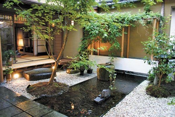 Japanischer Garten im Innenhof Ideen rund ums Haus Pinterest - sitzecke im garten gestalten 70 essplatze