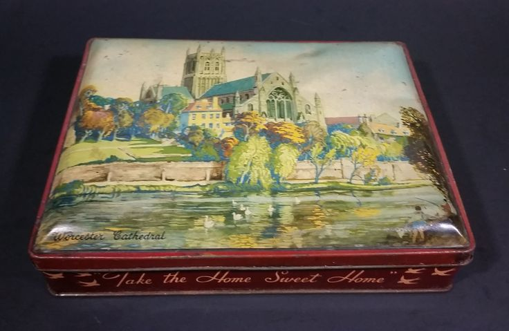 """1940s """"Blue Bird"""" Toffee Worcester Cathedral Tin - Harry Vincent Ltd. Hunnington Worcestershire England https://treasurevalleyantiques.com/products/1940s-blue-bird-toffee-worcester-cathedral-tin-harry-vincent-ltd-hunnington-worcestershire-england #Vintage #Antiques #1940s #40s #VintageTins #BlueBird #Toffee #Worcester #Cathedral #Tins #HarryVincent #Hunnington #Worcestershire #England #Candies"""