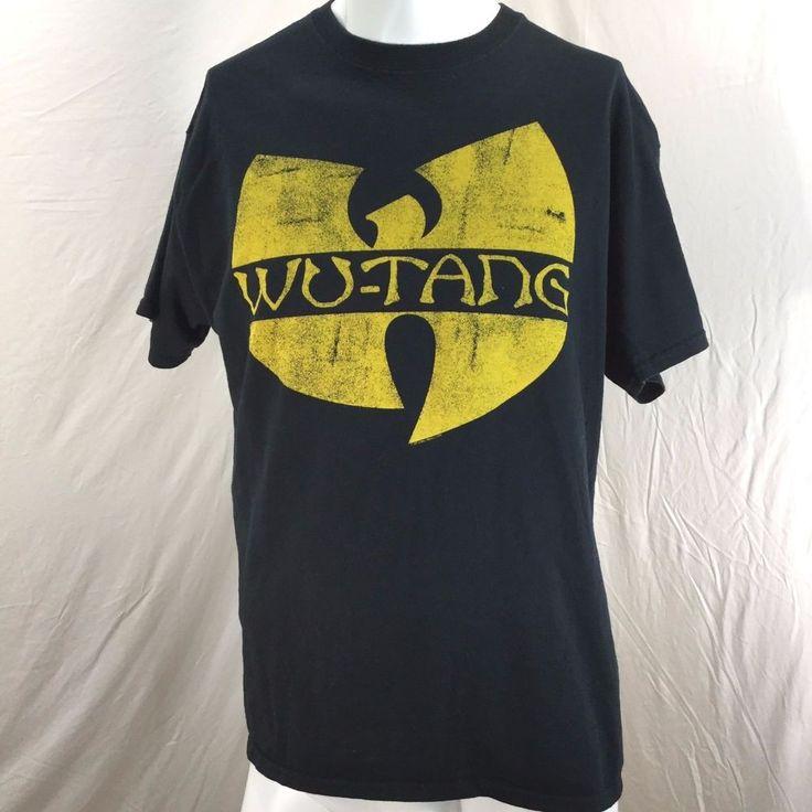 Wu Tang Clan Men's Classic Yellow Logo T-shirt Black Large 100% Cotton #Gildan #GraphicTee