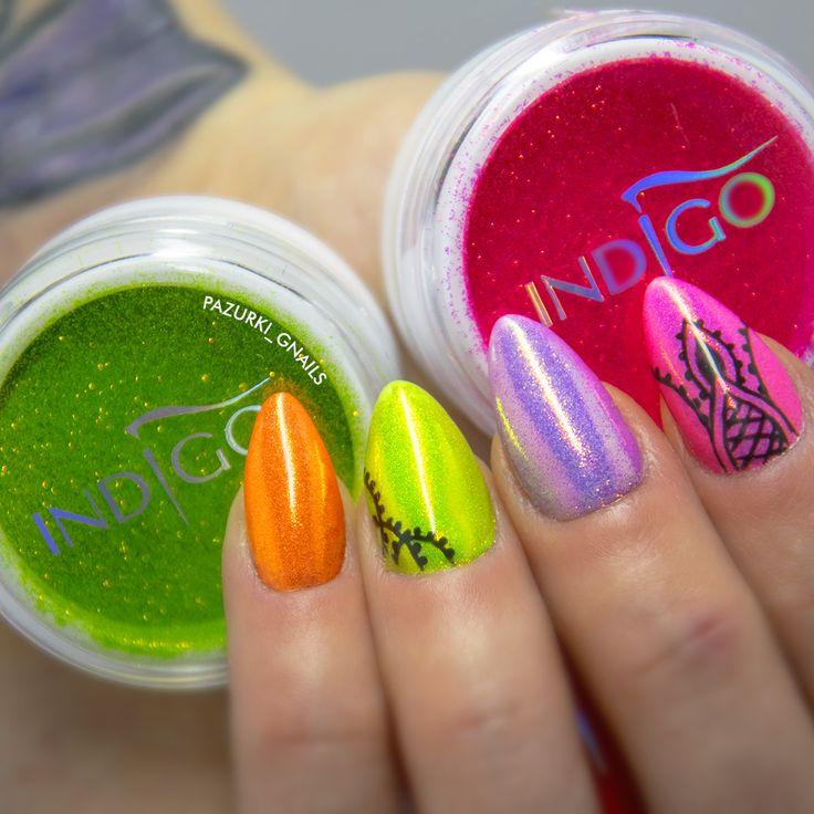 #neonnails, #nails, #mermaid, #indigo, #mermaidindigo, #syrenkineons.  www.gnails.pl