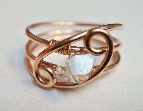 Herkimer Diamond Ring  Wedding Ring  14K Rose Gold Filled Ring  Engagement Ring on Etsy, $59.91 AUD