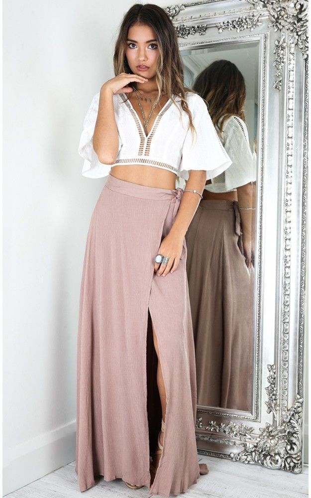 Mocha Wrap Around High Slit Maxi Skirt