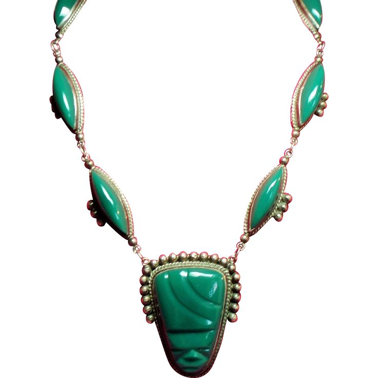 Vintage Mexico Sterling Dyed Green Onyx Large Mask Necklace