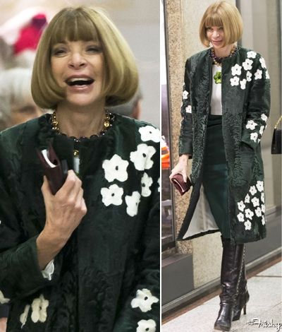 The amazing Anna Wintour in a signature Prada fur jacket. Show Stopping!