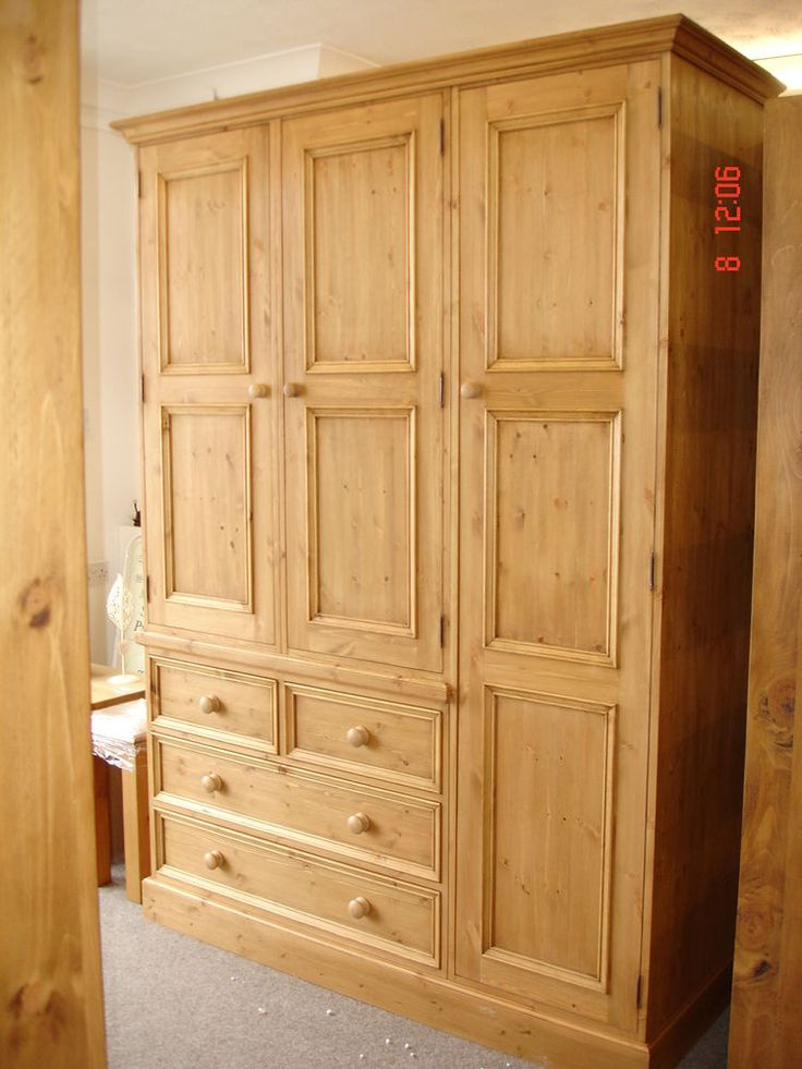 Solid Pine Large 3 door Triple Handmade Waxed Wardrobe in Home, Furniture &  DIY, Furniture, Wardrobes