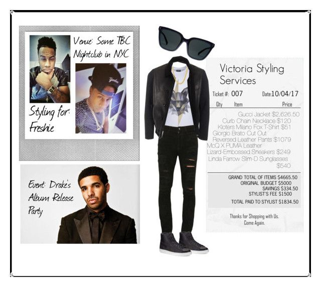 """""""Victoria Styling for Freshie - Drake's Album Release Party"""" by victoria-styling ❤ liked on Polyvore featuring Polaroid, Kloters Milano, Giorgio Brato, Gucci, Puma, men's fashion and menswear"""