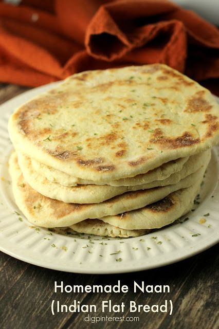 Homemade Naan (Indian Flat Bread) Recipe.  This is the perfect accompaniment to some curry or another traditional Indian dish!