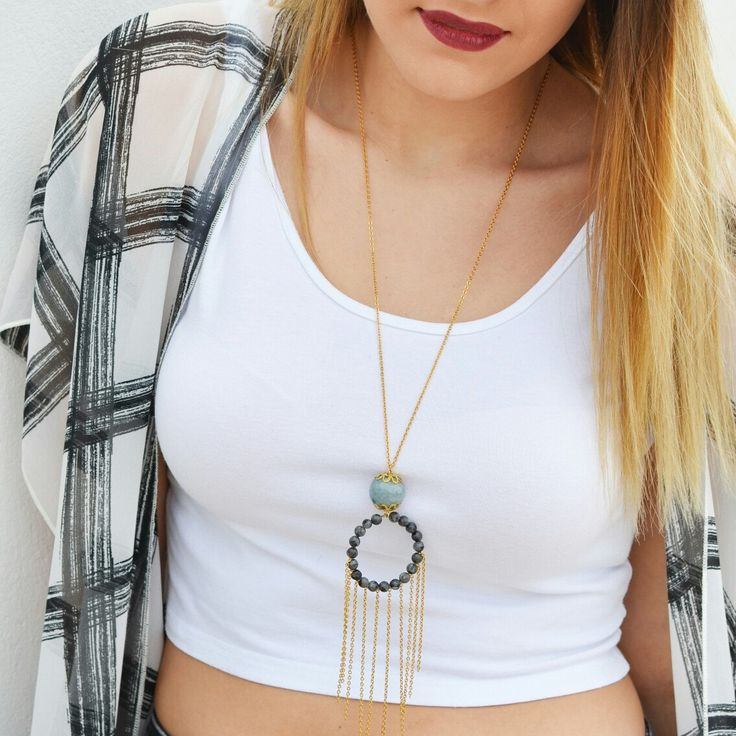 NEW Gorgeous boho chic gemstone necklace with agate and labradorite beads! A unique statement piece made to impress!