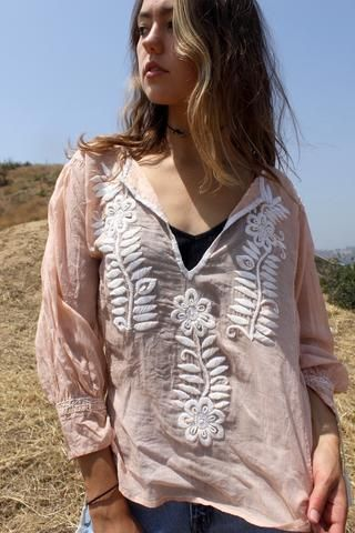 Gauzy Hand Embroidered Mexican Blouse