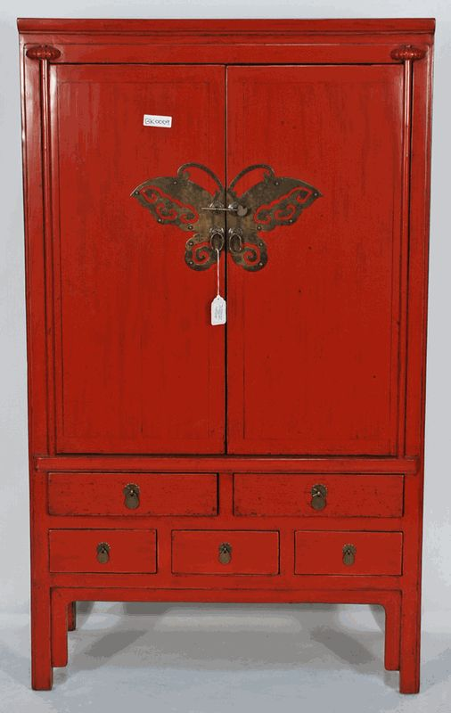 Antique Asian Furniture: Antique Chinese Red Lacquered Wedding Cabinet Armoire from Zhejiang Province, China