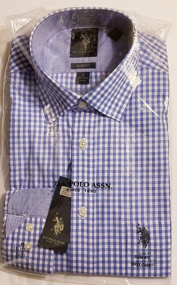 Us Polo Assn Cotton Blendlong Sleeveslim Fit Dress Shirt M 1515 1 2