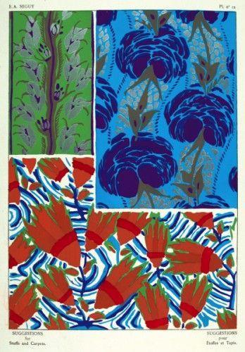 SEGUY, E. A. Suggestions pour Etoffes et Tapis. Plate no.12. Original pochoir lithograph for Suggestions pour Etoffes et Tapis, #Paris c. #1925 #pattern #design #textiles #colour #wallpaper