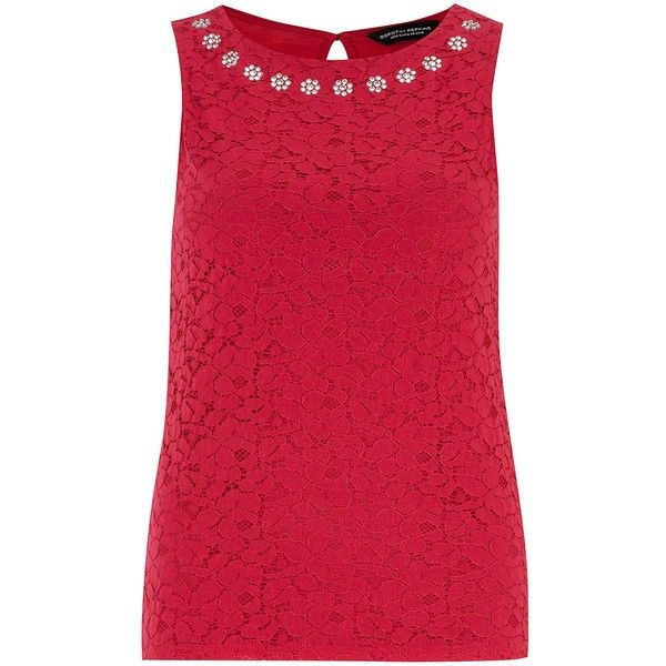 Dorothy Perkins Jewel Lace Shell Top ($16) ❤ liked on Polyvore featuring tops, clearance, pink, lace-up tops, red tank top, lace sleeveless top, pink tank top and red lace tank top