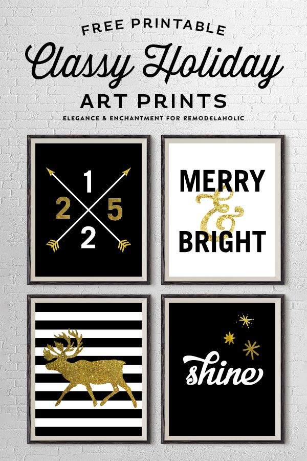 Make your holiday shine with this beautiful set of holiday art prints. These free black and gold printables will look great in a gallery wall for your Christmas decor!