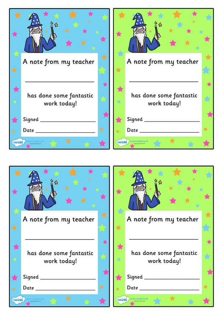 Note From Teacher template - fantastic work today! Easy to print and write a positive note home, especially as my goal is to build better  parent-teacher relationships in the new year!