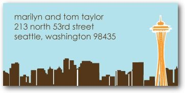 Personalized Address Labels Seattle Skyline - Front : Chocolate