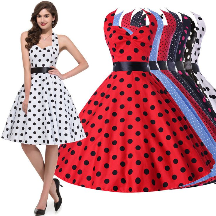 Sexy Halter Vintage Polka dot Swing 50s Housewife Evening Party Dress | Clothing, Shoes & Accessories, Women's Clothing, Dresses | eBay!