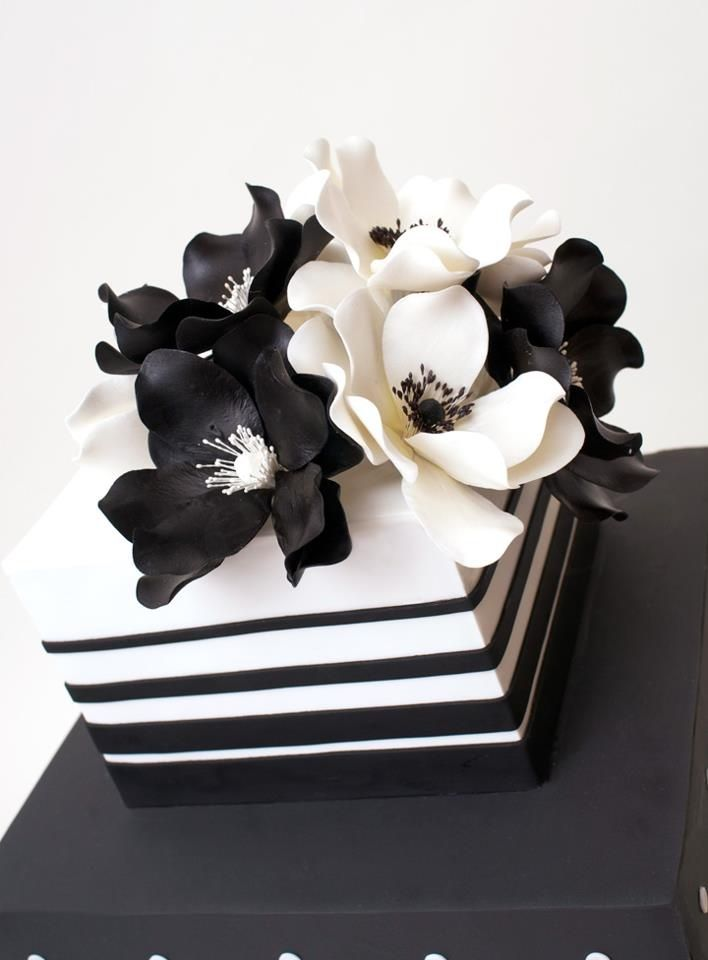 Black And White Fondant Cake With Black And White Peonies