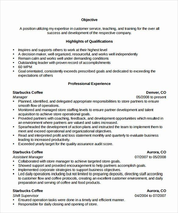Starbucks Barista Job Description Resume Fresh Starbucks Manager Resume In 2020 Manager Resume Resume Examples Jobs For Teachers