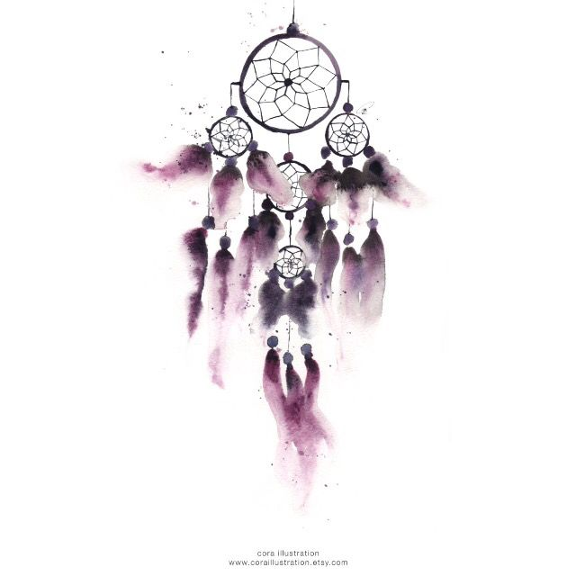 For bedroom wall decoration idea. A dreamcatcher in watercolor with purple feathers that I created. Sold on www.coraillustration.etsy.com