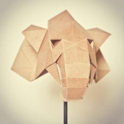 Cardboard Elephant trophy by belgian artist Julie Rousseau   photograph courtesy of Julie Rousseau