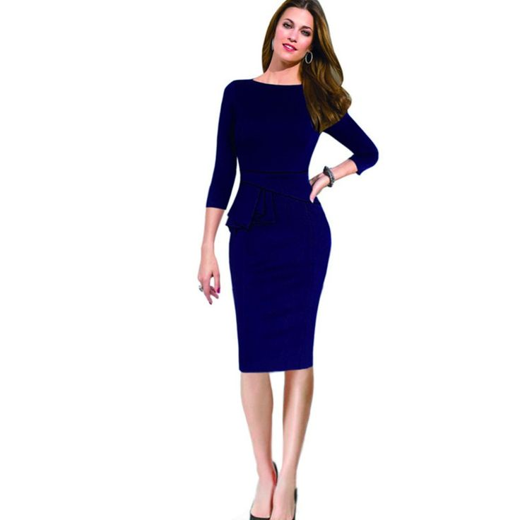 >> Click to Buy << 2017 Fashion Women Bodycon Slim Dress Sexy Business Office 3/4 Sleeve  Knee Length Vintage Evening Party Top Blouse #Affiliate