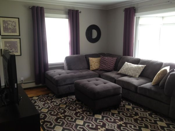Gray & Plum Living Room, Gray living room with accent colors of plum & beigy gold color, Living room remodel in gray with plum & beige/gold accent colors, Living Rooms Design