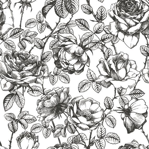 Black and White Floral Wallpaper Girls Room by anewalldecor