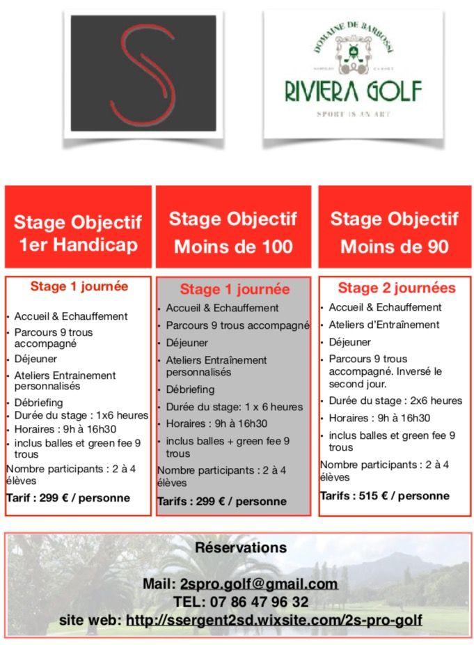 À chacun son stage de golf Stage 1er handicap Stage scorer moins de 100 Stage scorer moins de 90 #2sgolf