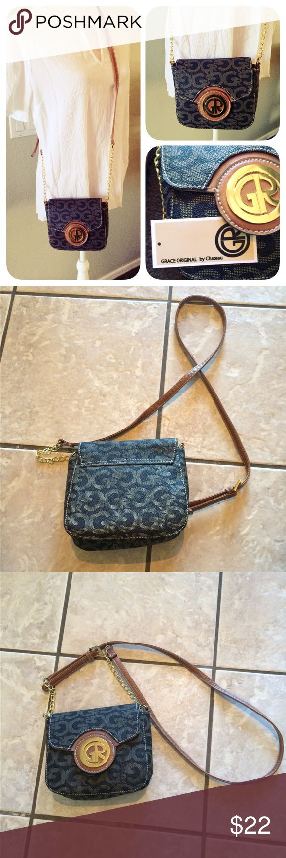 "NWT Grace Original by Chateau Crossbody Bag Brand new with tags cross body Chateau bag. Never used, very cute and fits everything perfectly. Adjustable strap, longest setting is 31"". Man made materials. Made in China. Chateau Bags Crossbody Bags"