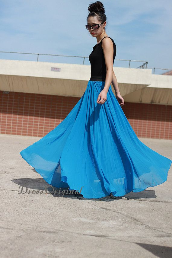 blue Maxi skirt  blue floor-length skirt Double by DressOriginal