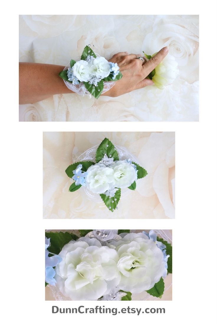 White rose corsage, prom corsage, wedding corsage, mother of the bride corsage. Click through to my shop #corsage #prom #winterwedding #whiterose
