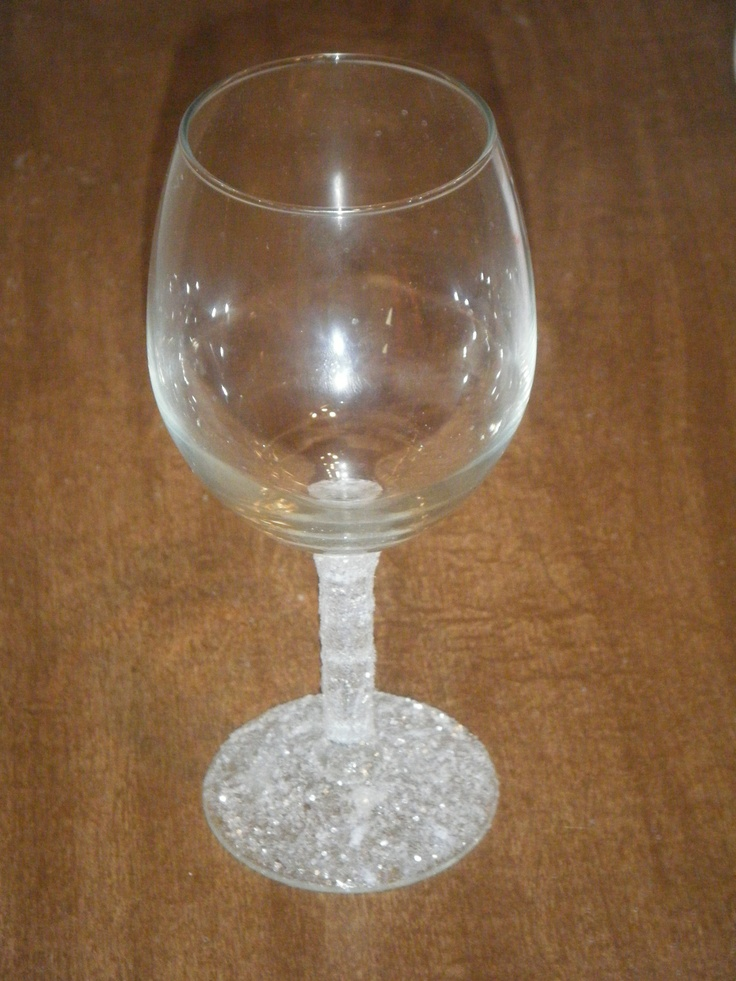 Glitter stem wine glass crafts pinterest wine glitter wine glasses and glitter - Wine glasses with thick stems ...