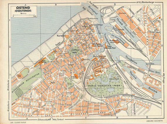 1950 Ostend Belgium Vintage Map Vintage 1950 S