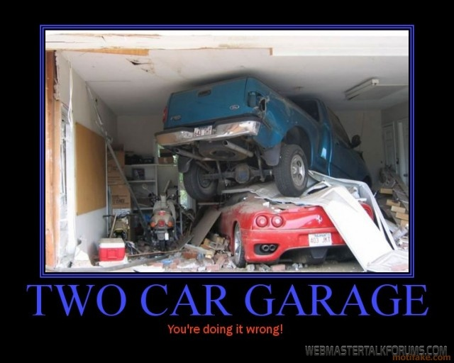 Lol truck crashes into garage and lands in corvette for Garage sn autos 42