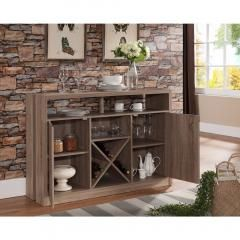 This Buffet Table with Metal Wine Racks is made of solid wood in a faux distress wood design and has plenty of room for storing serving pieces, wine, and glassware at www.thewineboxessentials.com