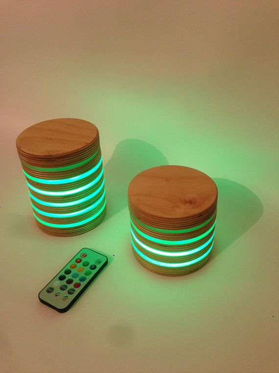Wireless Baltic Birch and Acrylic multicoloured LED Light and