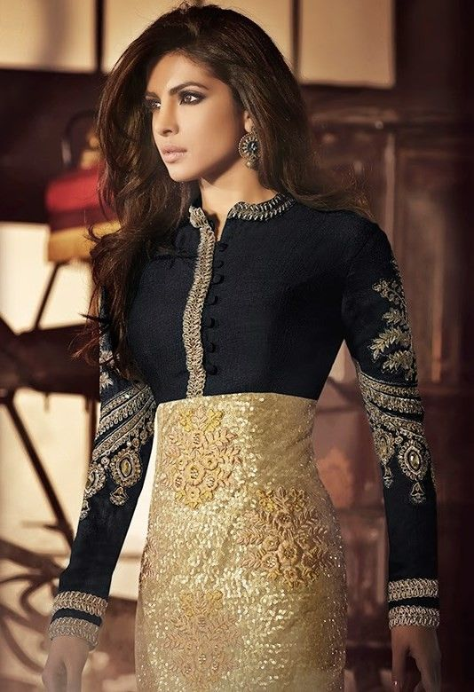 Lychee Fashions Priyanka Chopra Black & Golden Net & Silk Straight Salwar Kameez with Duppatta-5033C-1048-24571 - Semi Stitched Suits - Salwar Kameez