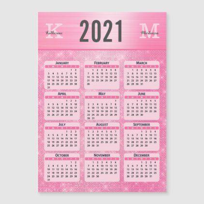 Pastel Pink Girly Glam Monogram Name 2021 Calendar ...