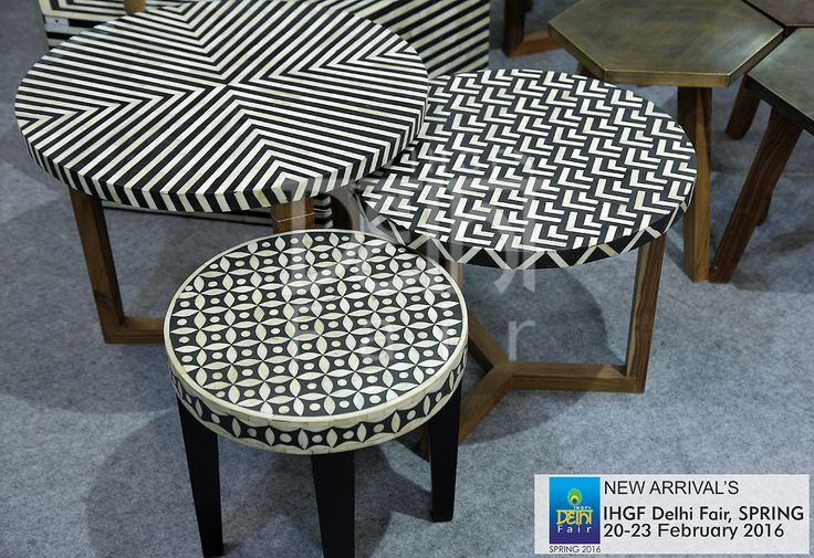 Eclectic classics....bone inlay geometrics....all these and more at the upcoming IHGF Delhi Fair, Spring 2016 #furniture #tradeshow