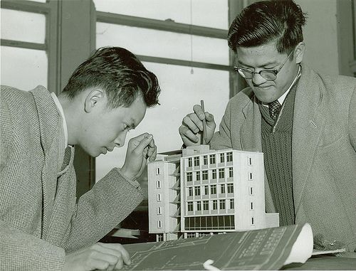 1950s architecture student examining a building model #tafe #education #geelong #learning