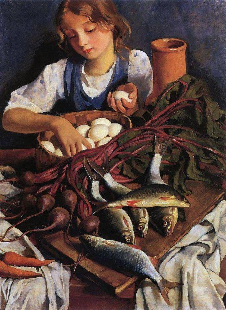 Зинаида Серебрякова.На кухне. Портрет Кати. 1923
