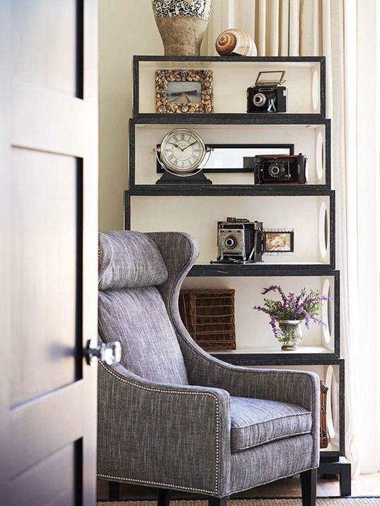 """I like the hole in the side of these shelves.  It adds a ton of light and avoids that """"dark corner"""" look.  Also, notice the inside of the boxes are white?  Could use any light color, really, to add interest."""
