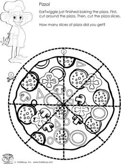 Preschool scissors skills worksheet and activity pizza