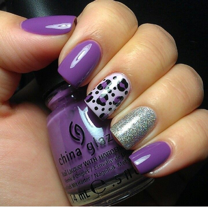 Purple, and Sliver Glitter with Leopard Nail Art Designs