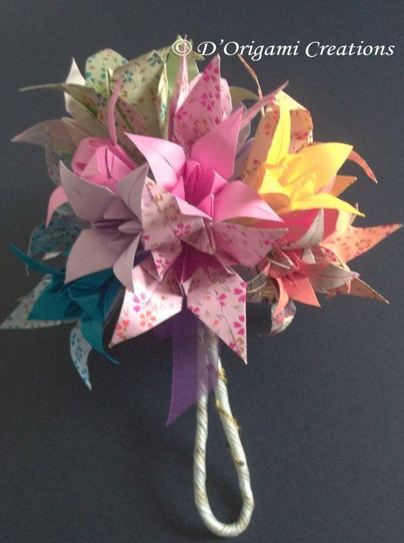Bouquet origami bouquet de mariage fleurs de lys par for Bouquet de lys