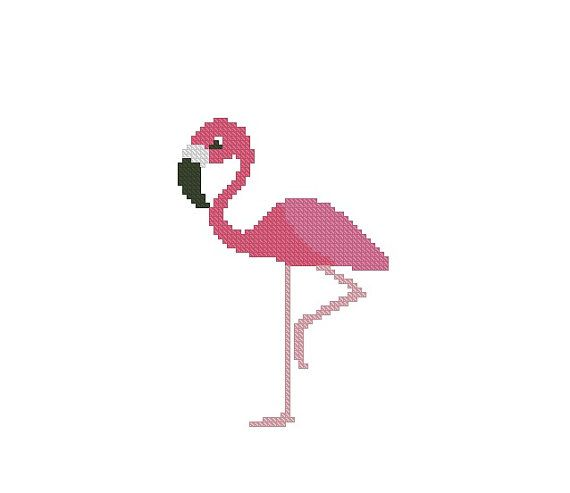 Cross stitch pattern Crochet Graph Pattern PDF Flamingo