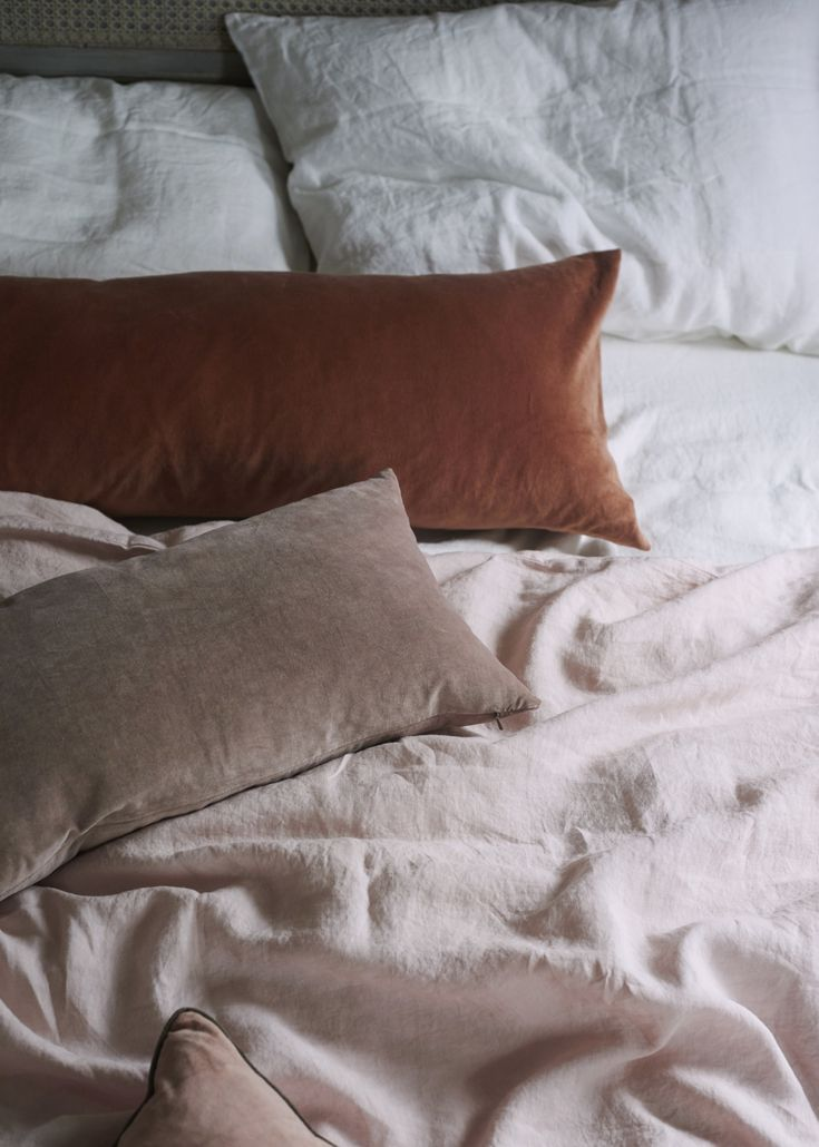 """Dress the bed like you would yourself: with intention. """"I have always loved linen bedding, whether it's an antique linen sheet or a washed linen duvet cover. It has the obvious added benefit of not having to be ironed should you wish,"""" Hutchinson says. (All of her bed linen is from Once Milano.)"""