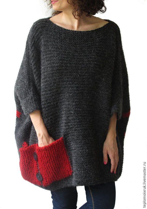 Knitted poncho Grey-red - серый, красный, пончо, спицами, вязаное, теплое