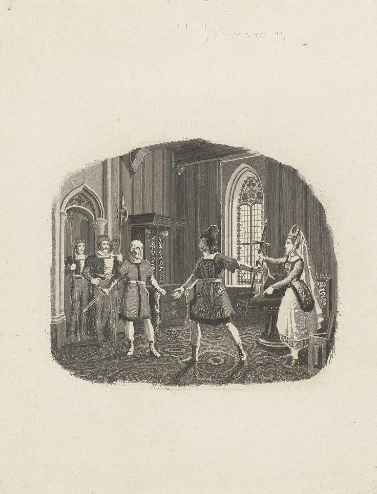 Henricus Wilhelmus Couwenberg | Vrouw reikt haar man zijn zwaard, Henricus Wilhelmus Couwenberg, Johannes Steyn, 1838 | Een oude man stapt met drie mannen van een garde een gotische kamer binnen en roept de huisheer op om met hem mee te gaan. De vrouw reikt de man haastig zijn zwaard.